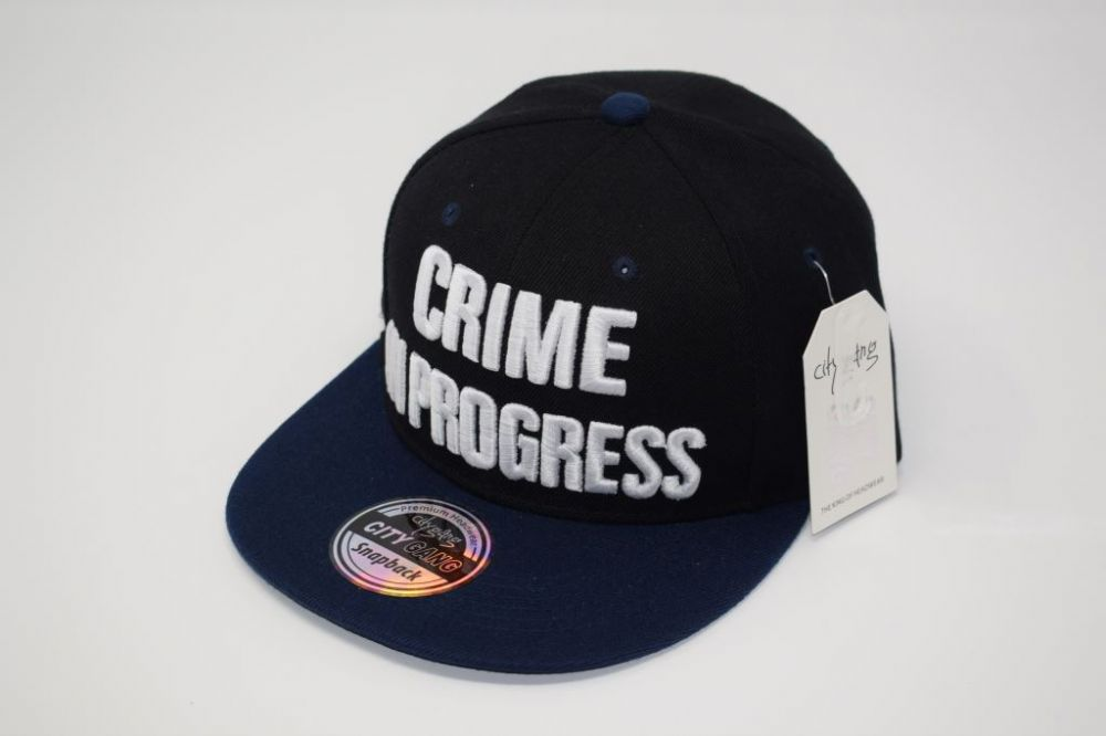 C4888- 'CRIME IN PROGRESS' Navy/Black Snapback Cap one size fits all adjustable